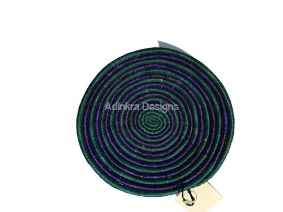 Afribeads Wall Baskets – Raffia Bowl 20cm - 4-Adinkra Designs