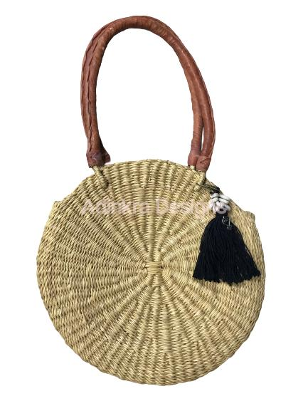 Round Woven Bag - Natural (Tan Handles) with Black Tassle-Adinkra Designs