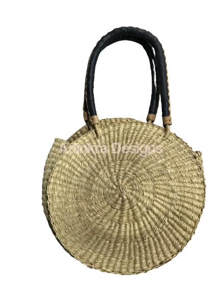 Round Woven Bag - Natural (Black and Cream Handles)-Adinkra Designs