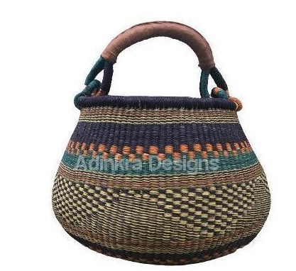 Pot Basket - Colourful - 5-Adinkra Designs