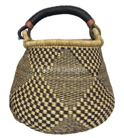 Pot Basket - Black Designs -2-Adinkra Designs