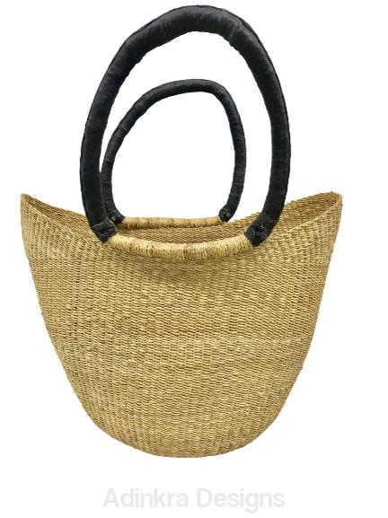 Market Basket - Natural Closed Weave (Black Handles)-Adinkra Designs