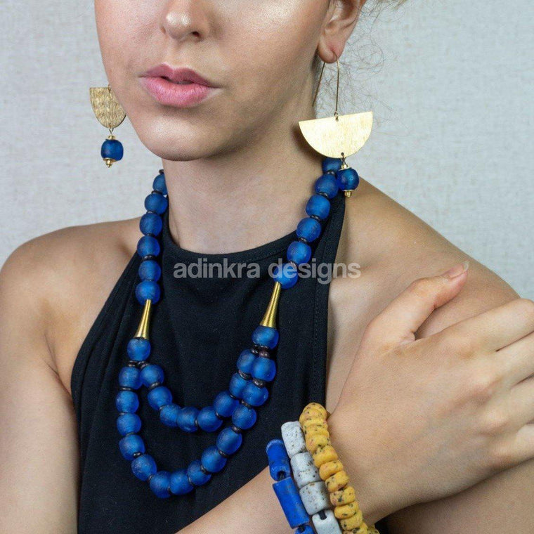 'Rise and Shine' necklace - Cobalt-Adinkra Designs