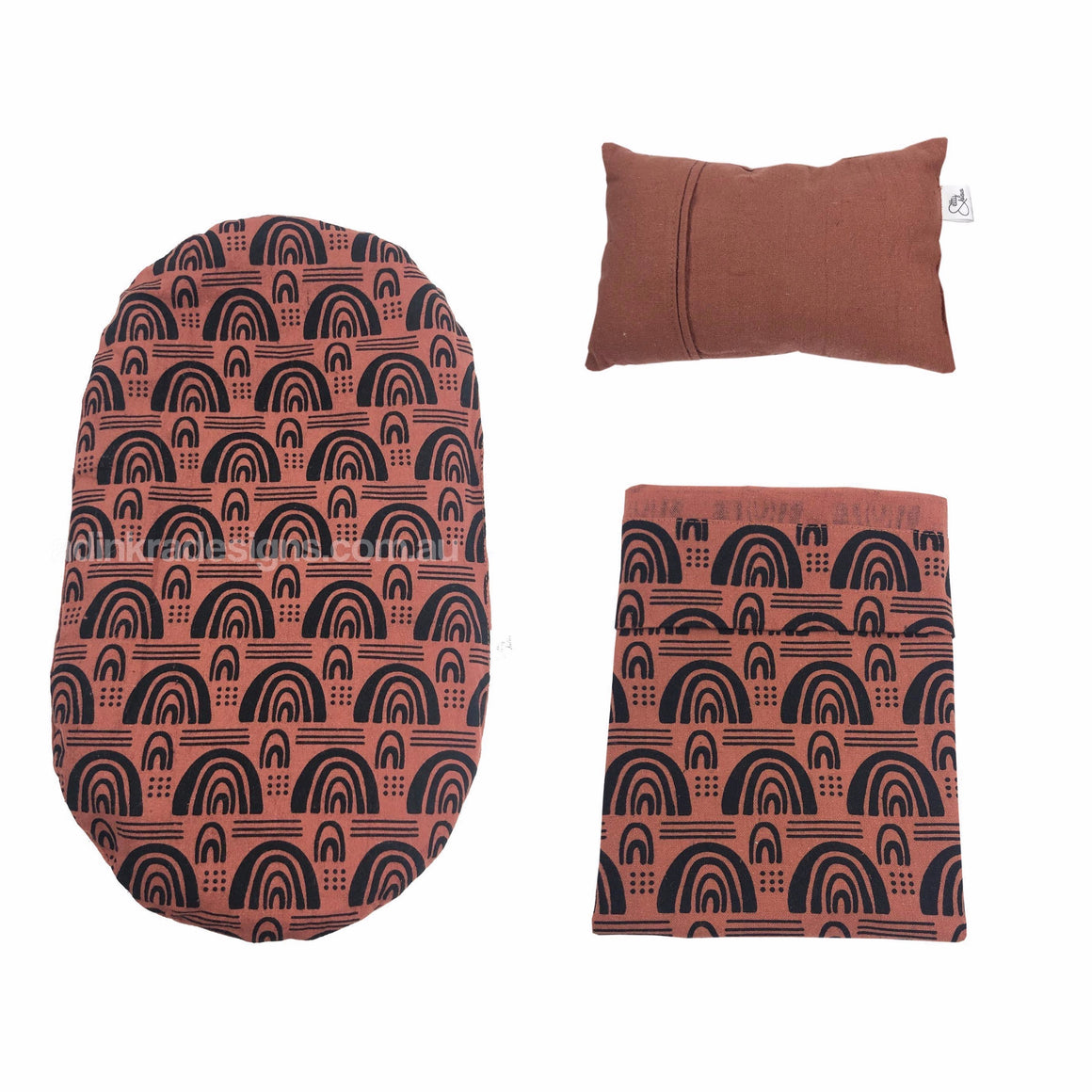Dolls Bedding Set – Tan Boho Rainbow-Adinkra Designs