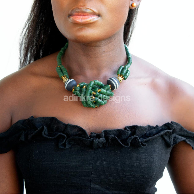 'Knot Your Average' Necklace - Green-Adinkra Designs