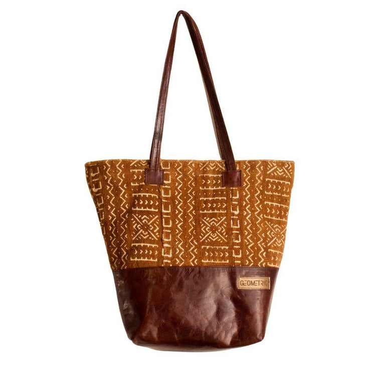 Natural Bogolan Tote Bag-Adinkra Designs