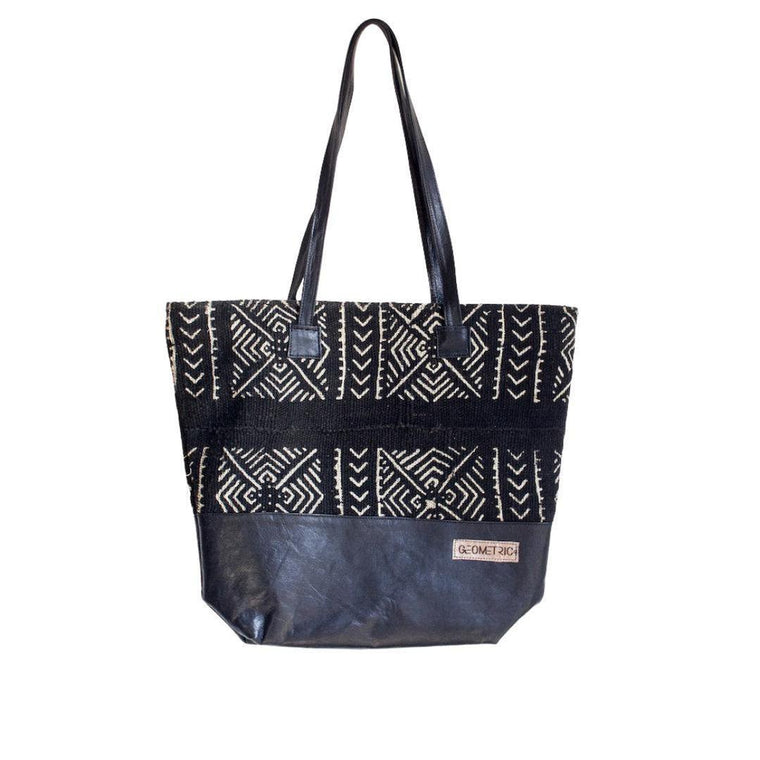 Geometric Black Mud Cloth Tote Bag-Adinkra Designs