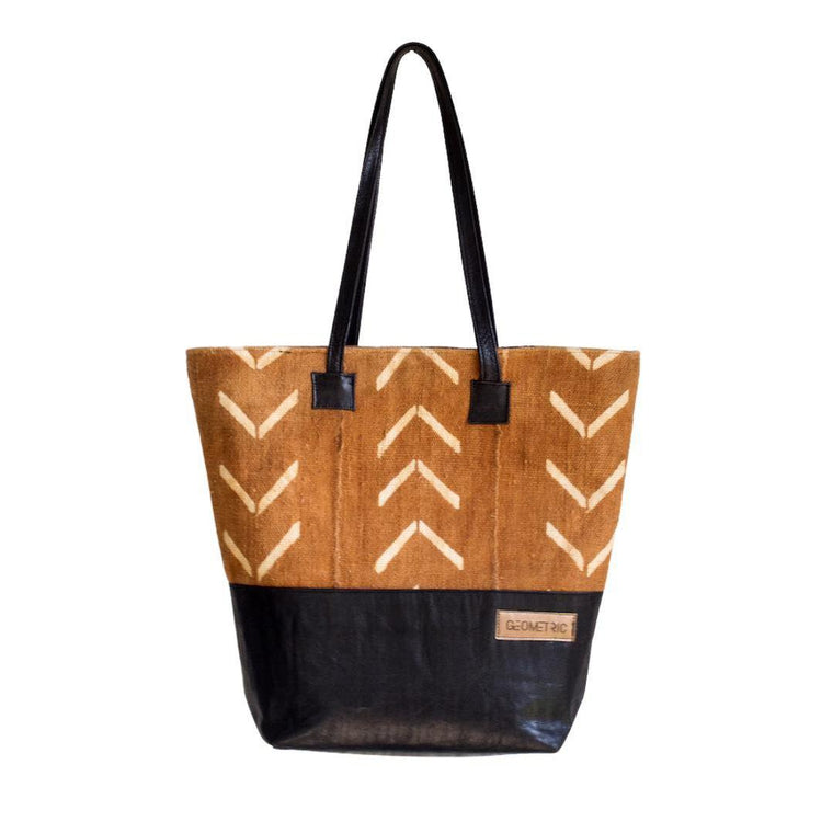 Brown Fish Bone Tote Bag-Adinkra Designs