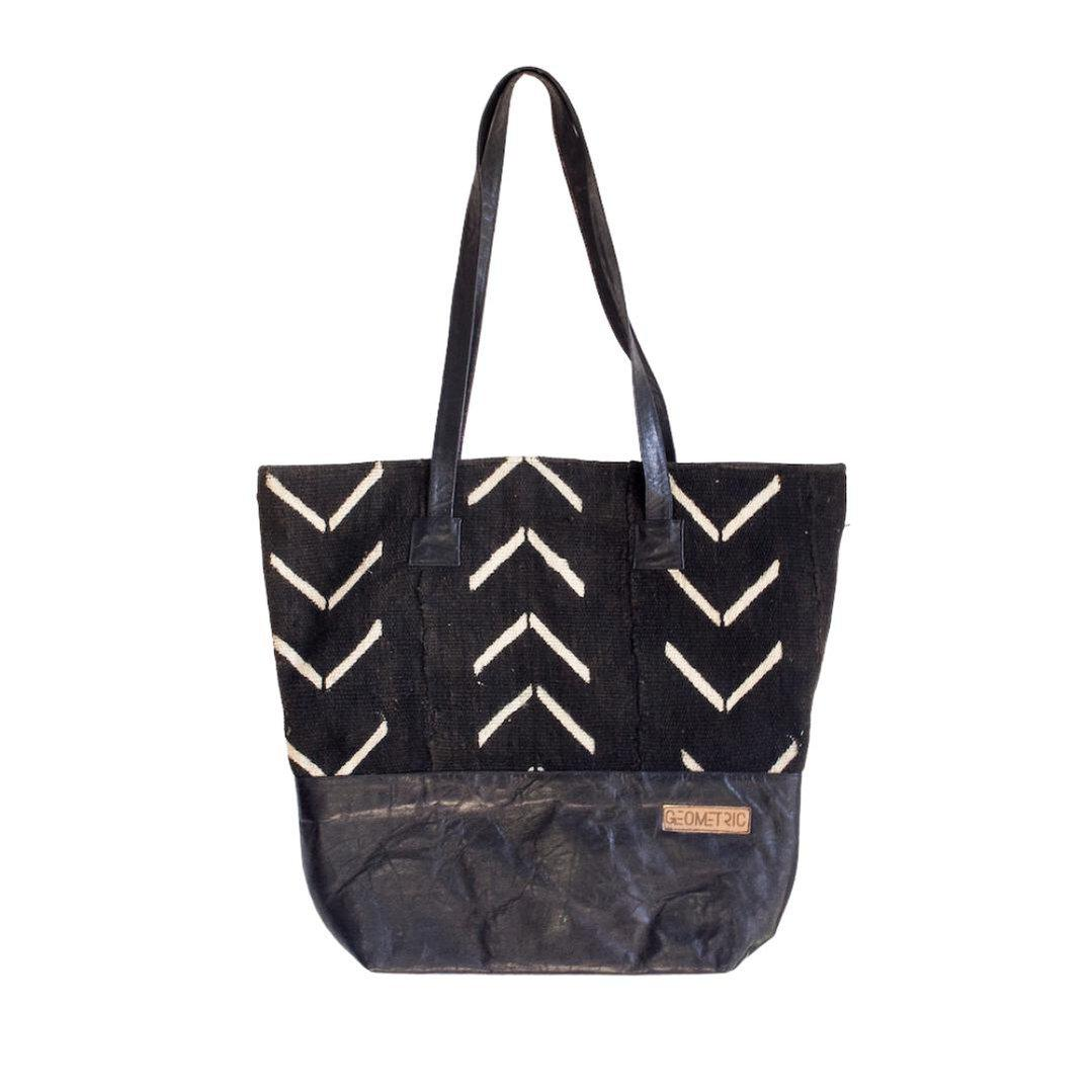 Black Fish Bone Tote Bag-Adinkra Designs
