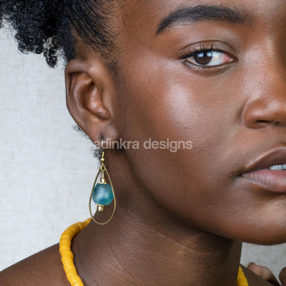 Teardrop Earrings - Ocean-Adinkra Designs