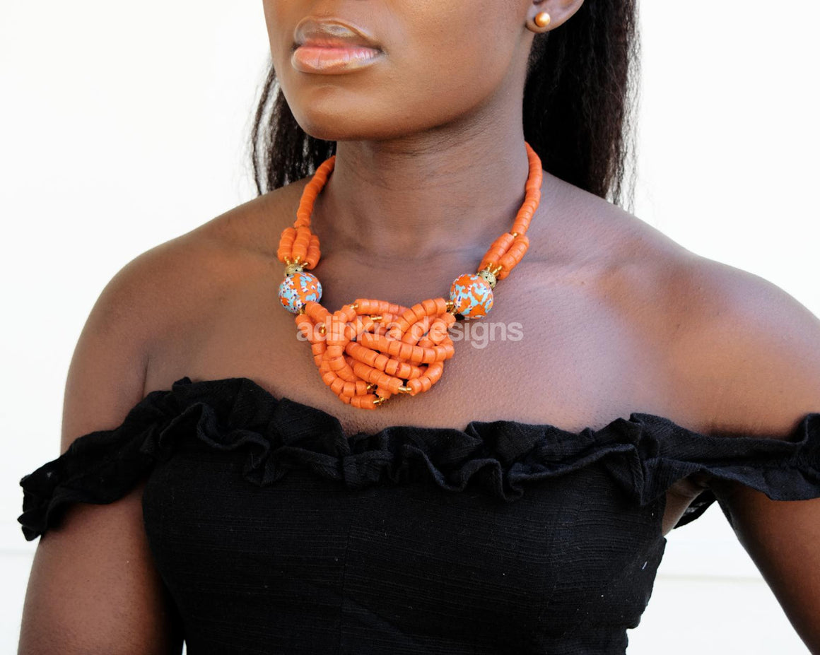 'Knot Your Average' Necklace - Orange-Adinkra Designs