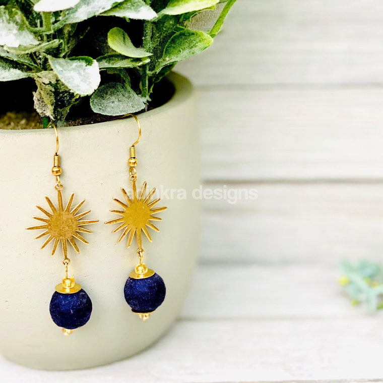 Radiant Earrings - Navy-Adinkra Designs
