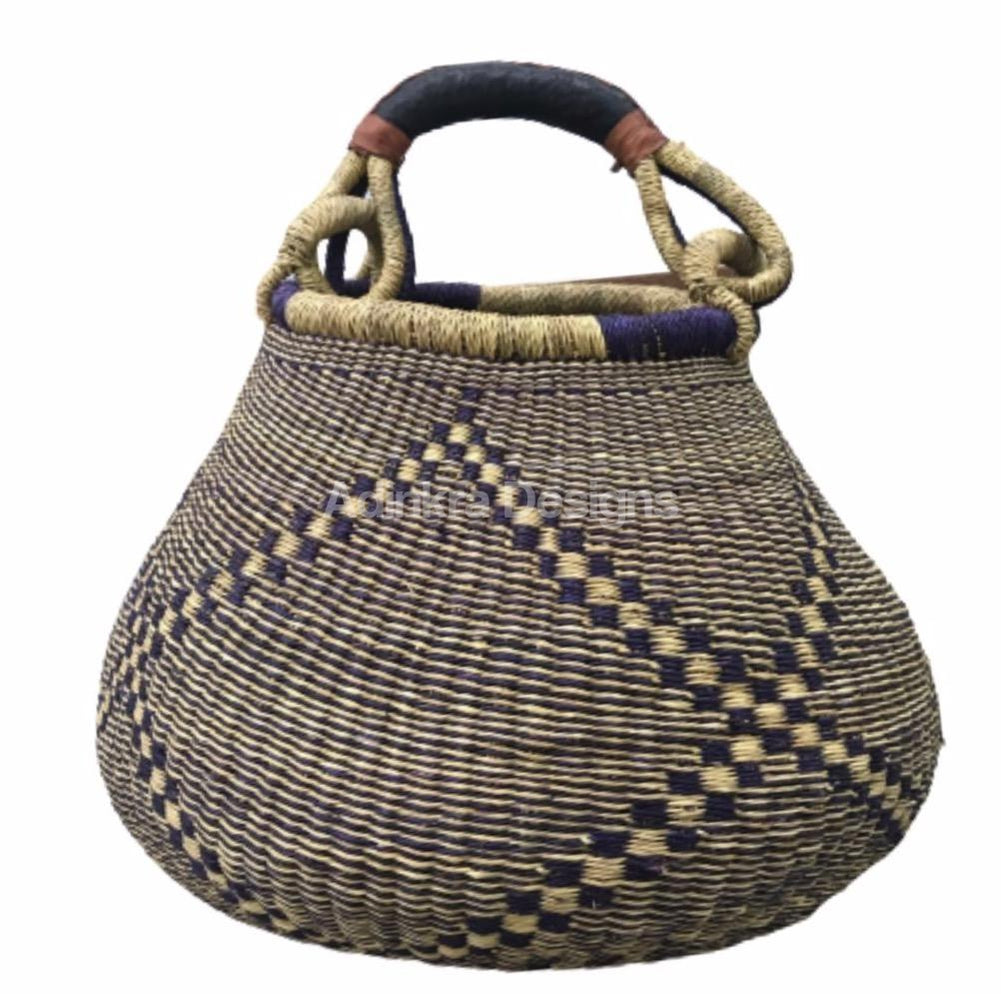 Pot Basket - Black Designs - 1-Adinkra Designs