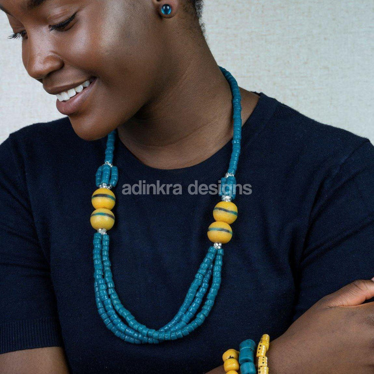 'Knot Your Average' Necklace - Teal-Adinkra Designs
