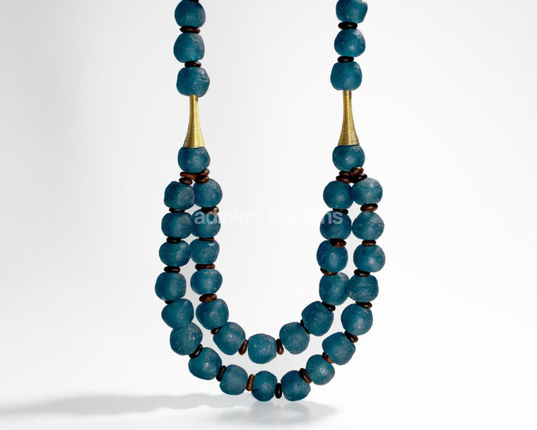 'Rise and Shine' necklace - Teal-Adinkra Designs