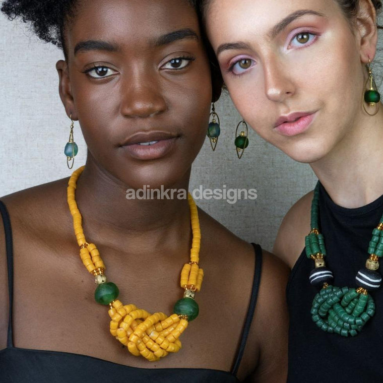 'Knot Your Average' Necklace - Yellow-Adinkra Designs