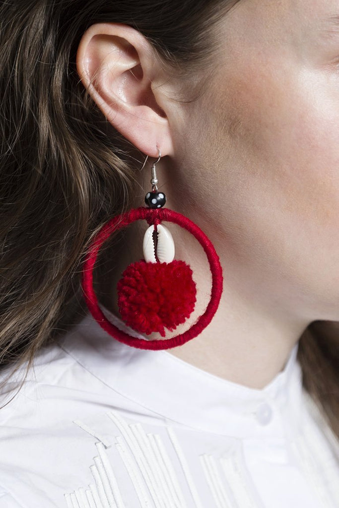 Red Hoop Earring