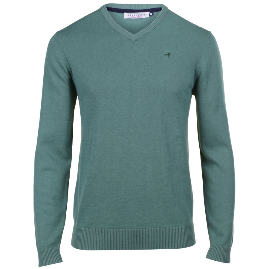 Brakeburn V-neck Jumper Green
