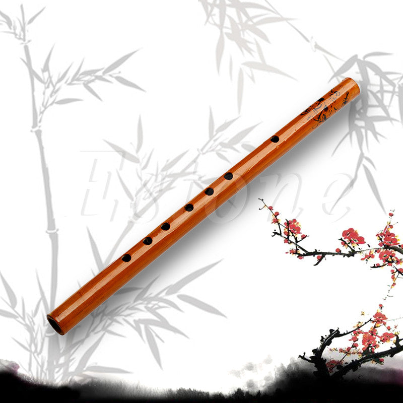Traditional 6 Hole Bamboo Flute Clarinet Student Musical Instrument Wood Color