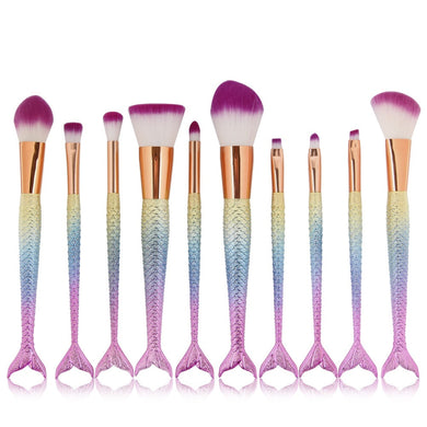 Pastel Mermaid Tail Makeup Brush 10pc/Set