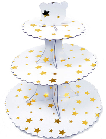 Base for Cupcake White with gold Stars