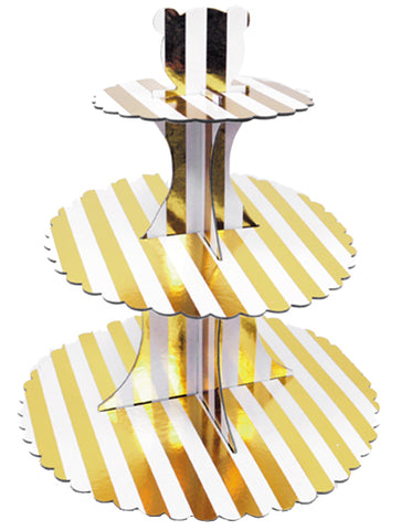 Base for Cupcake White with gold Stripes