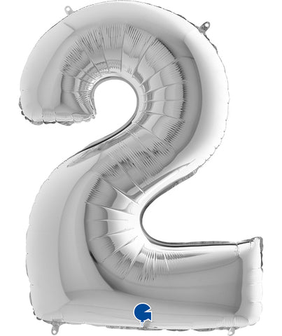 40'' Silver Number '2' Foil Balloon