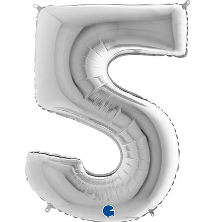 40'' Silver Number '5' Foil Balloon