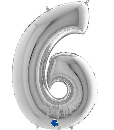 40'' Silver Number '6' Foil Balloon