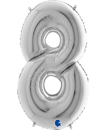 40'' Silver Number '8' Foil Balloon