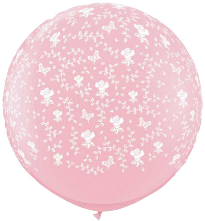 3 Foot Pink All Around Printed Flowers Latex Balloon