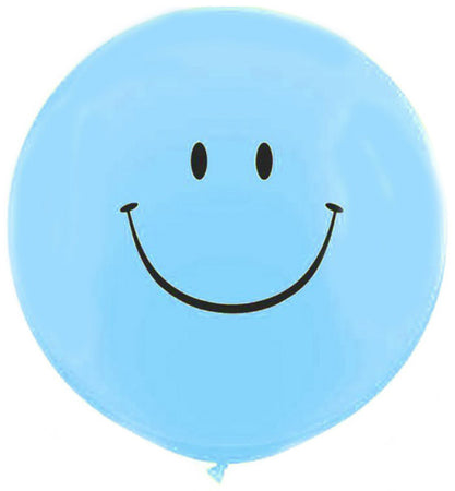 3 Foot Blue Printed Smile Face Latex Balloon
