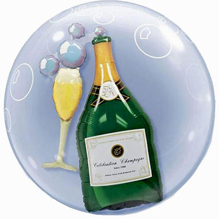 24'' Glass of champagne double Bubble balloon