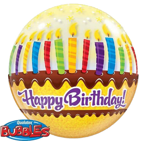 22'' Cake 'Happy Bday' single Bubble balloon