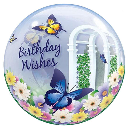 22'' Butterflies 'Bday Wishes' single Bubble balloon