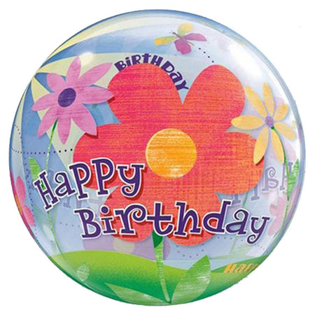 22'' Flowers 'Happy Bday' single Bubble balloon