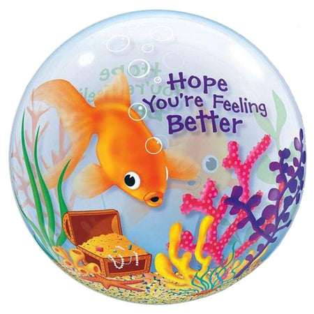 22'' Fish 'feeling better' single Bubble balloon