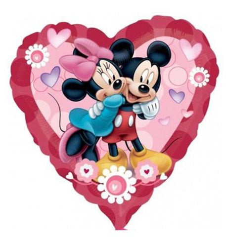32'' Mickey & Minnie Mouse Heart Foil Balloon