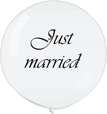 "3 Feet Printed White ""Just married"" latex Balloon"