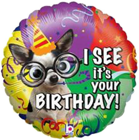 21'' Dog with google eyes 'I see its your birthday' Foil Balloon