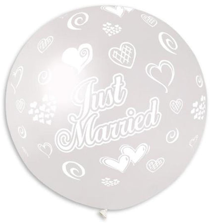 3 Feet Printed crystal clear 'Just Married' with hearts latex balloon
