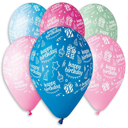 12'' Printed 'Happy Bday' cake gifts in 6 different colors latex balloon (25 pcs)