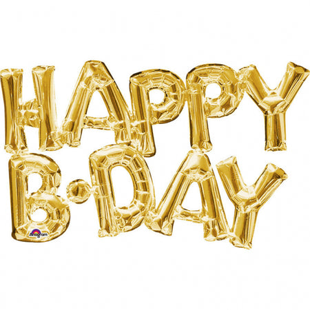 Super Shape Gold letters 'Happy B-day' Foil Balloon