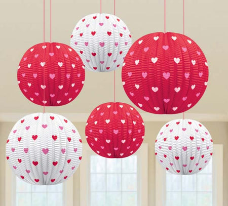 Decorative Mini Heart paper lanterns (5 pcs)