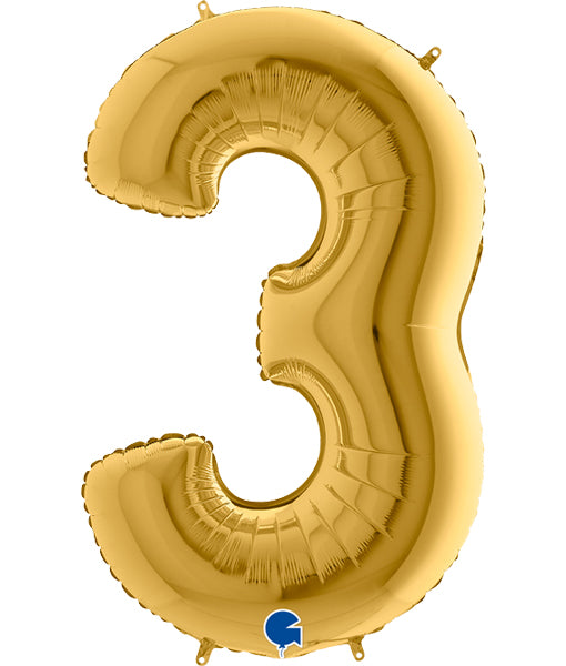 40'' Gold Number '3' Foil Balloon