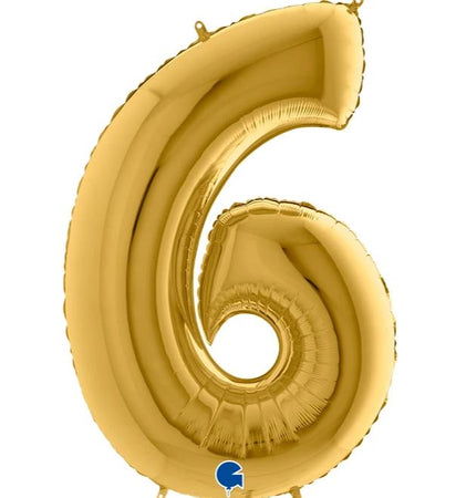 40'' Gold Number '6' Foil Balloon