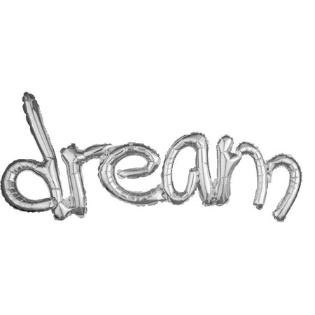 Super Shape 'Dream' Silver Connected Phrase Foil Balloon