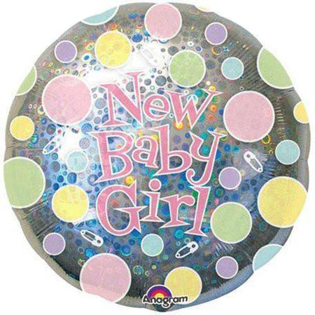 18'' New Baby Girl Dots Foil Balloon