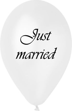 "12'' Printed Pearl White ""Just Married"" Latex Balloon (25 pcs)"