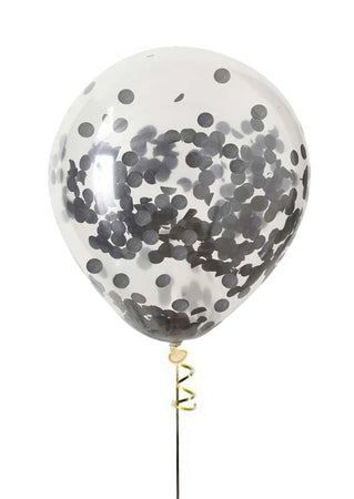 13'' Crystal Clear filled with black confetti latex balloon (1 piece)